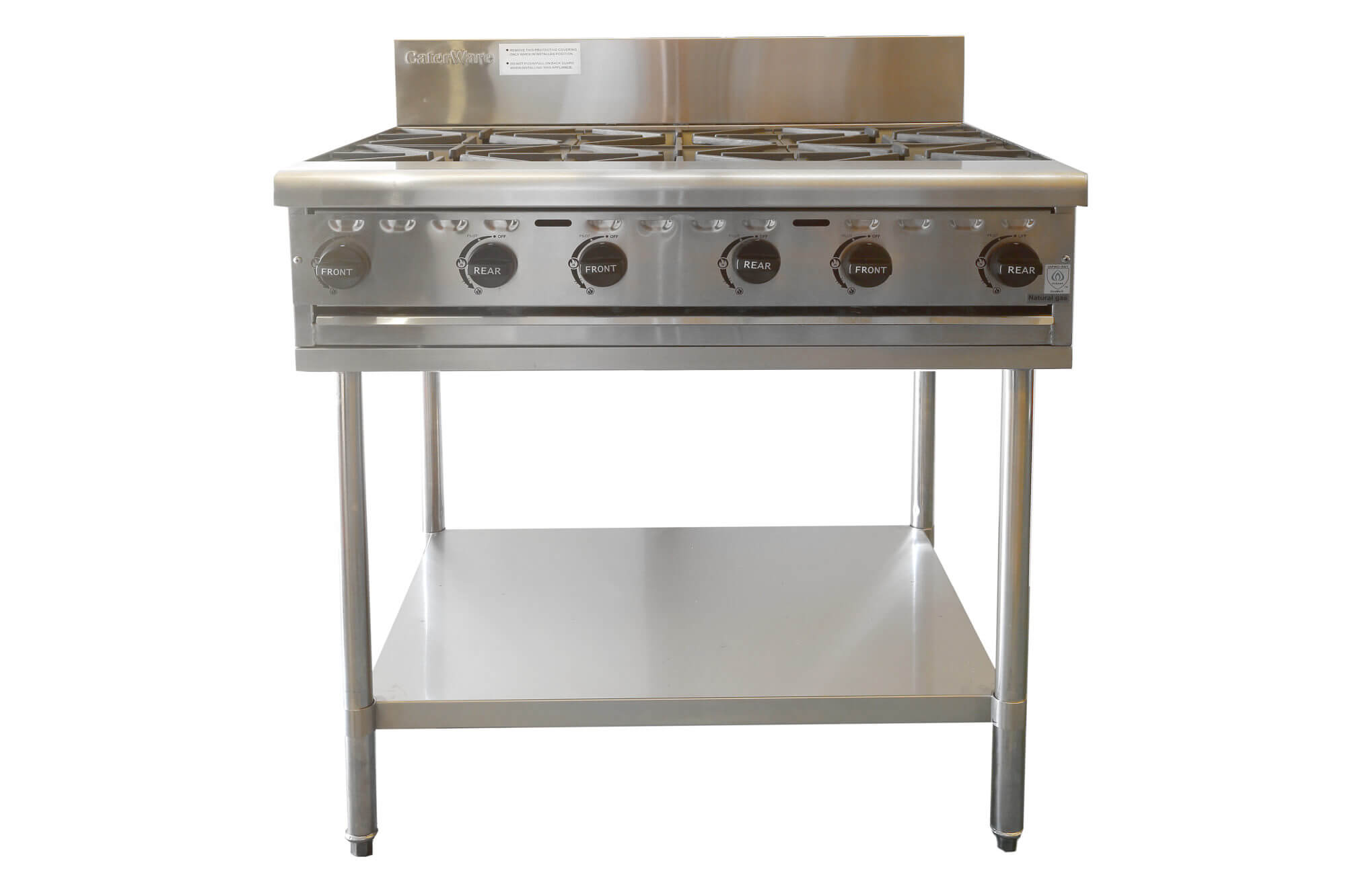Steel Stand Designs Inc : Caterware six burner stainless steel gas cooktop inc stand