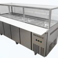 Four door Salad / Kebab Refrigerated Showcase on castors