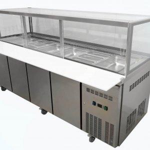 Four door Salad / Kebab Refrigerated Showcase on castors