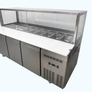 Three door Salad / Kebab refrigerated showcase on castors