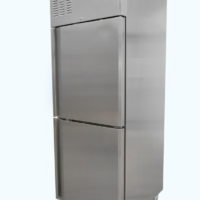Upright single split door fridge on castors
