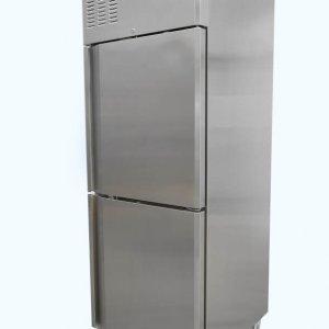 Upright single split door fridge on castors