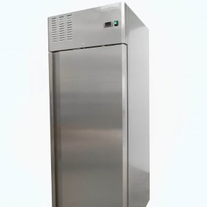 Upright single door fridge on castors