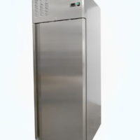 Upright single door fridge on castors