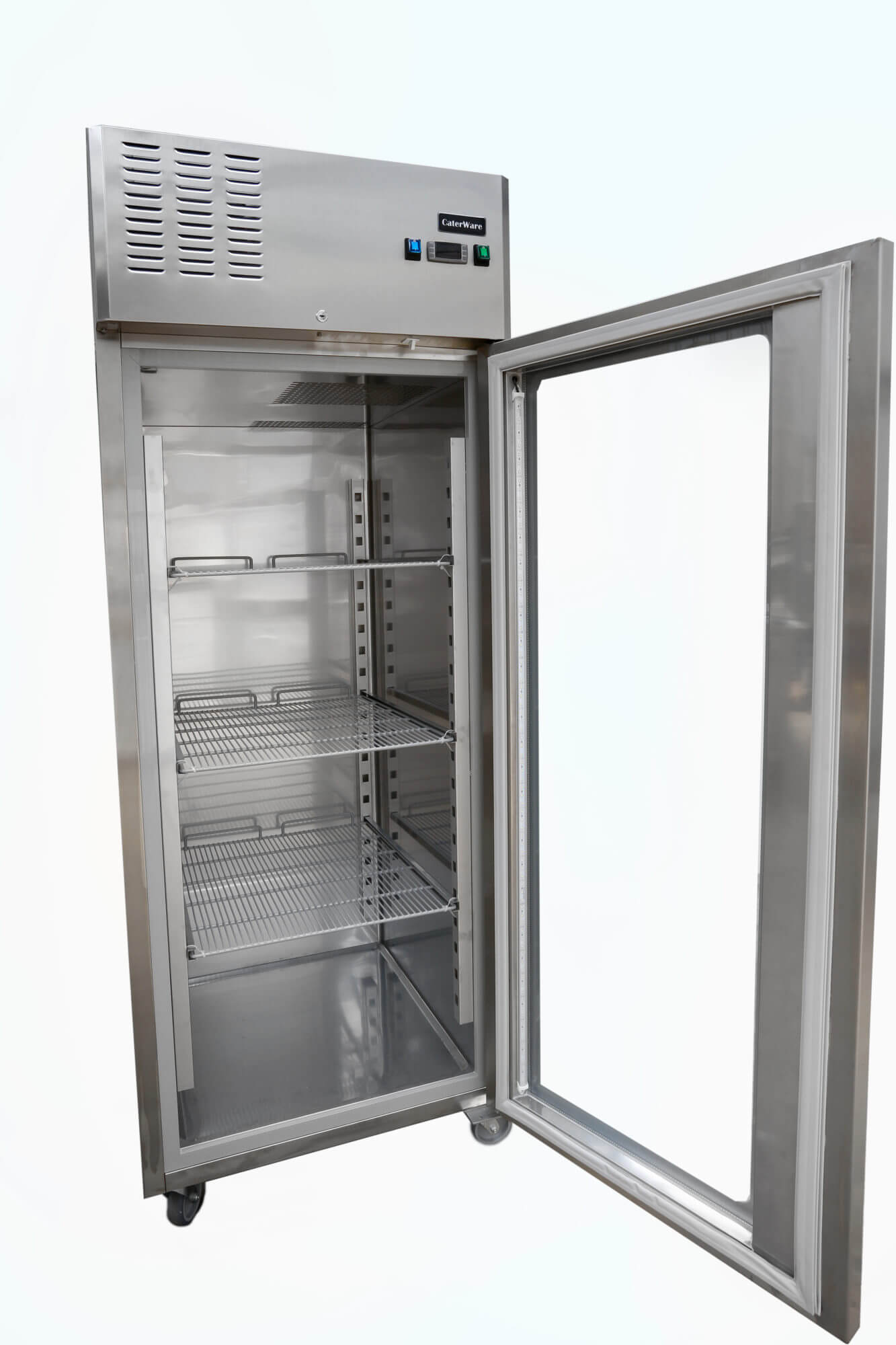 Single Glass Door Upright Freezer On Castors Caterware