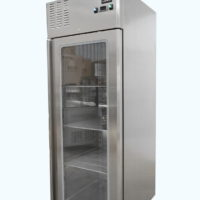 Upright single glass door fridge on castors