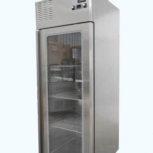 Upright single glass door fridge on castors