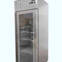 Upright single glass door freezer on castors