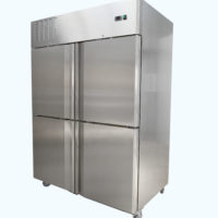 Upright split two door fridge on castors