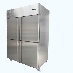 Upright split two door freezer on castors