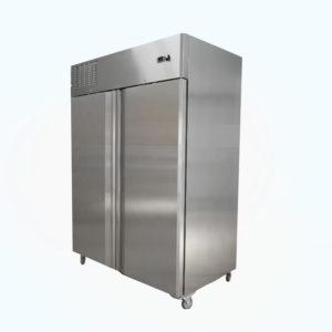 Upright two door fridge on castors