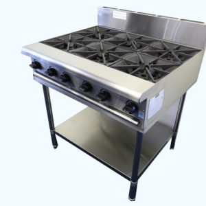 Six burner gas cooktop on stand