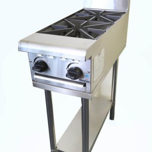 Two burner gas cooktop on stand