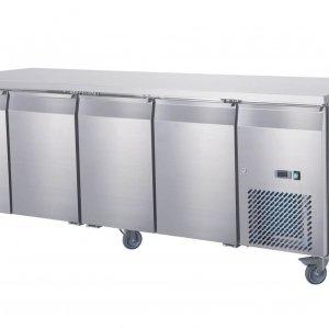 Four door under bench fridge on castors