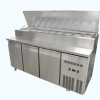 Three Door Pizza Preparation Fridge on Castors