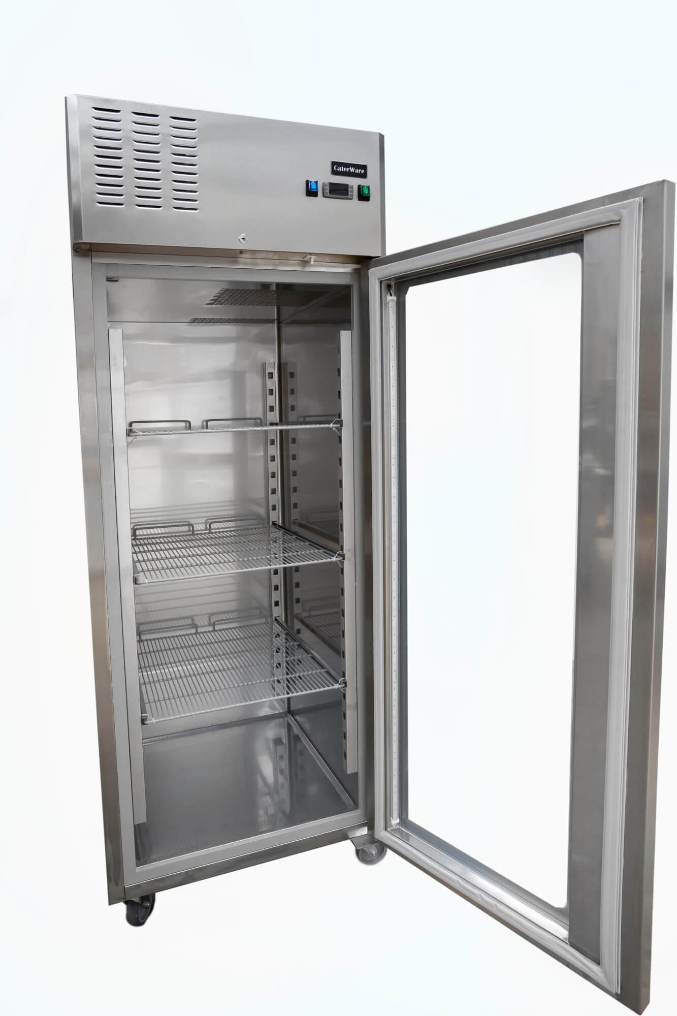 Single Glass Door Upright Freezer On Castors Caterware