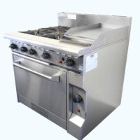 Four Burner Gas Cooktop with Hotplate and Oven