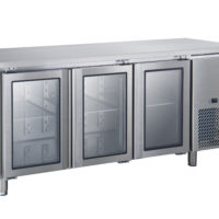 THREE DOOR GLASS  UNDER BENCH FRIDGE ON CASTORS