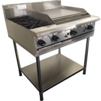 TWO BURNER GAS COOKTOP WITH 600 WIDE HOTPLATE