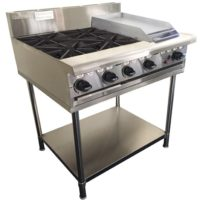 FOUR BURNER GAS COOKTOP WITH 300 WIDE HOTPLATE